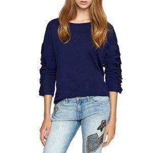 Sanctuary Leona Ruffle Tee Long Sleeve Blue XS